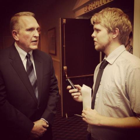 Interviewing Tim Fox before polls close at the Red Lion Colonial hotel in Helena. ©Patrick Record