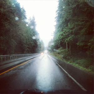 Driving west on U.S. 101 on the Olympic Peninsula, April 2012.