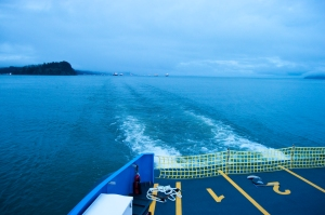 The Oscar B leaves a sleepy Astoria in its wake en route to Puget Island on the Columbia River Friday morning.