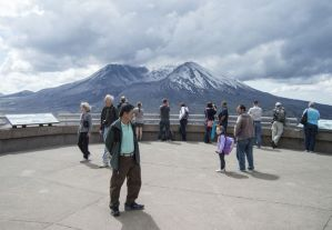 Visitors get a good view of Mount St. Helens — free of its usual curtain of fog and clouds— at Johnston Ridge Observatory on Monday morning during the 35th anniversary of the 1980 eruption.