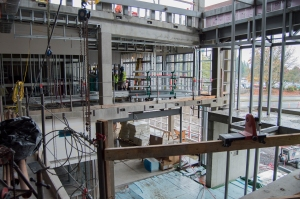 The open atrium of Clark College's new STEM Building will be glass-paneled like much of the rest of the $39 million building set to open to students next fall. (Brooks Johnson / The Columbian)