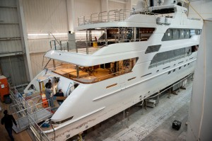 Employees of Christensen Shipyards work aboard a megayacht under construction in Vancouver. Photo by Amanda Cowan.